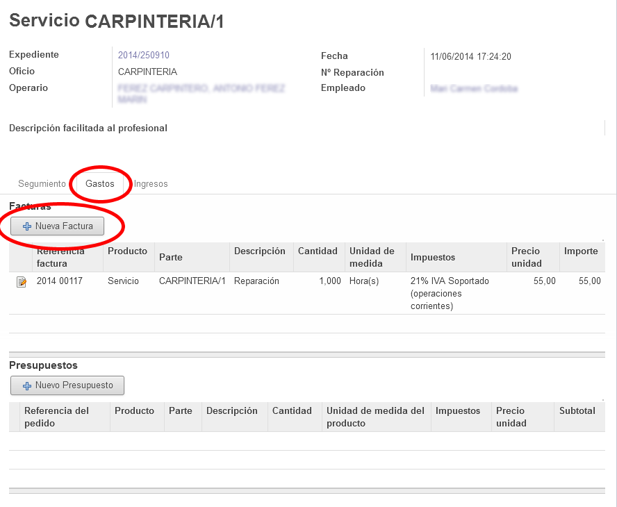 Expedientes OpenERP odoo